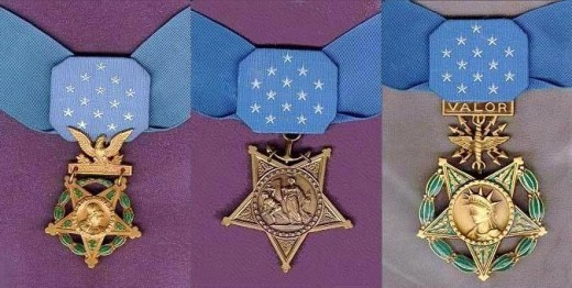 From left: Army, Navy/Marine Corps/Coast Guard, and Air Force Congressional Medals of Honor