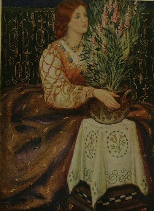 Woman, with basil plant, art