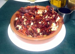 Pericana (fried dried peppers, garlic, salt and dried cod with oil) typical cuisine of Alcoi