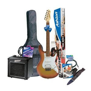 The Ashton guitar pack I'm getting exactly as this! The colour of the guitar is sunburst with a white pick-guard.
