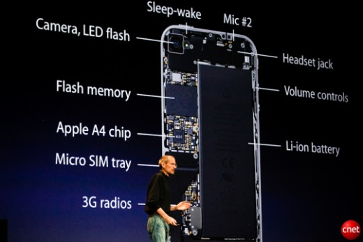 A photo inside the iphone with Steve Jobs Credit: James Martin/CNET