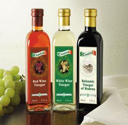 Balasmic vinegar, red wine vinegar, and white wine vinegar