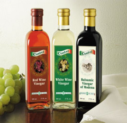 Balasmic vinegar, red wine vinegar, and white wine vinegar
