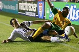 Landon Donovan during an international match against Jamaica in 2006 (credit: Jarrett Campbell)