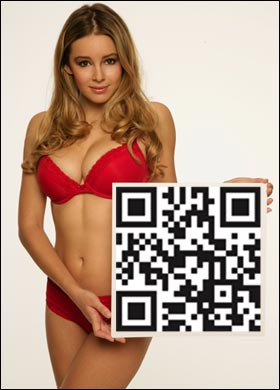 Here's my all time favourite ZOO Weekly model Keeley Hazell modeling a QR code