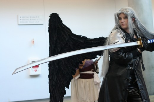 Sephiroth one-wing costume with a sword.  Source: Flickr, agius