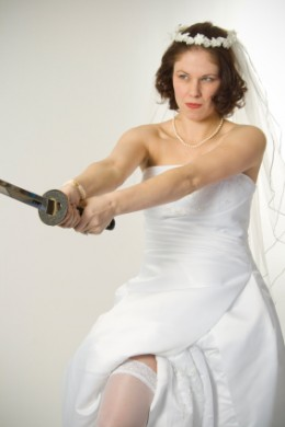 The expectation of perfection can make the bride look more like a Samurai warlord.