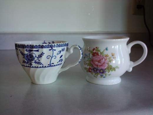 These are my coffee cups...the bigger one is for mornings, the little one for afternoons.