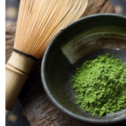 traditional matcha green tea and whisk