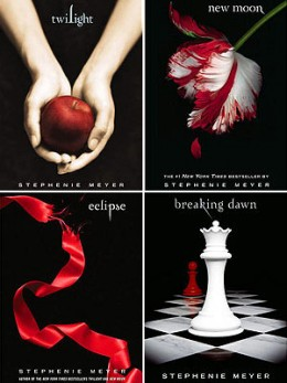 The four books in the Twilight series shown above. The art on these book covers provides the ideas for many cake designs.
