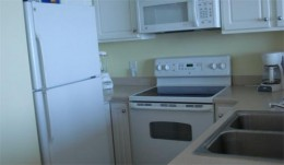 Kitchen. Included stove, oven, microwave, dishwasher, and fridgerator/freezer.