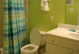 Bathroom in the bedroom. Included a bathrub/shower