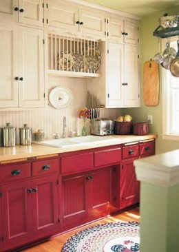 Example of both painted kitchen cabinets and use of beadboard on wall.