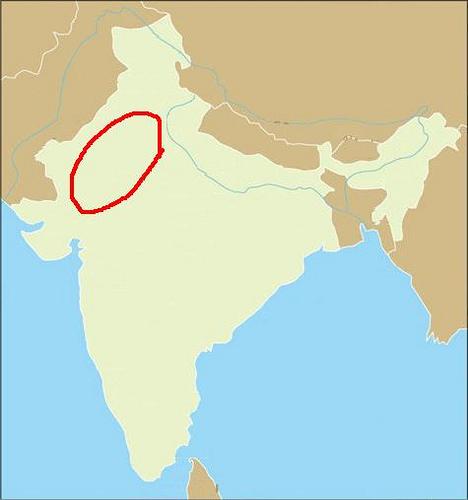 The red boundary showing The Thar Desert.