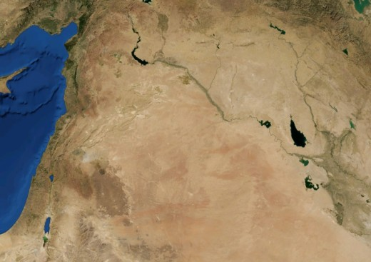 A satellite view of The Syrian Desert