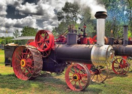 steam tractor photo print