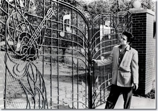 The Music Gates were not there when Elvis bought Graceland in 1957. But they were added that same year.
