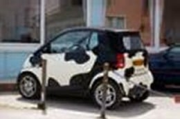 Smart Car with Milk Cow Markings