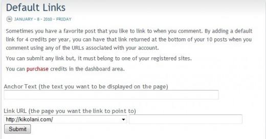 CommentLuv Default Links Form