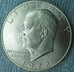 1972S Ike Dollar Doubled die on the Obverse from under the nose to the LIBER in LIBERTY.