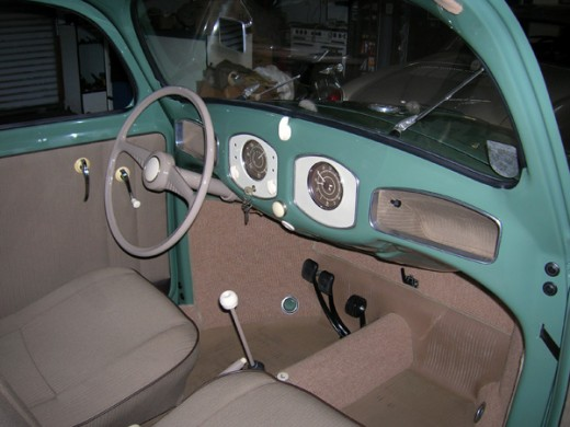 Interior of a 1949 VW Beetle