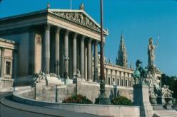 The Austrian Parliament along the Ringstasse.