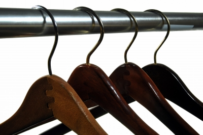 Wooden clothes hangers.