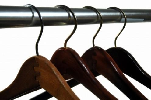 Wooden hangers.