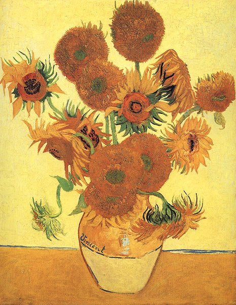 One of many paintings of Sunflowers by Van Gogh. He painted them all over the bedroom walls of the room that Paul Gauguin stayed in.