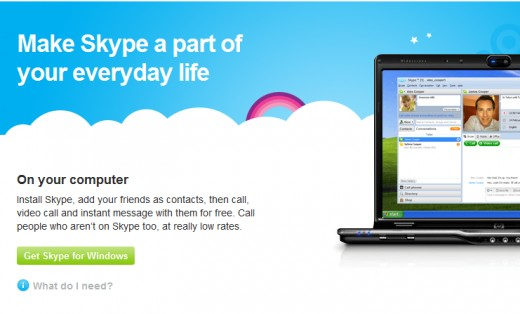 The Skype download page