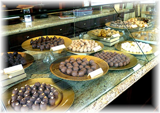 Some of the available truffles for sale inside of the Cocoamoda Restaurant