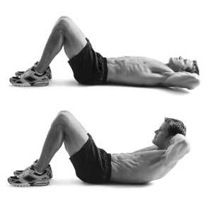 Black and White Photos of a Man Starting and Ending with Proper Form for a Sit-up