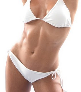 Beautiful Female Body in White Swim Suit with Strong Muscles