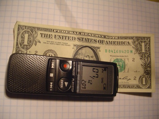 Sony IC Digital Recorder - this thing is tiny and fits anywhere. It is half the size of my cell phone!