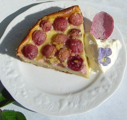 Sugared flowers make pretty decorations for this Clafouti.
