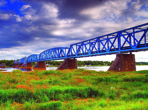 Railway bridge between Haparanda, Sweden and Tornio, Finland