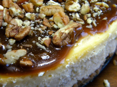 Cheesecake baked in a bain-marie is smooth and creamy. (c) marye audet 2009