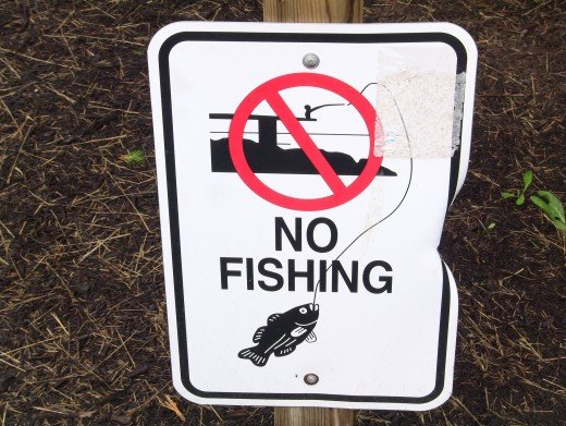 """""""No Fishing"""" sign near pool on Solid Rock Church grounds. Photo: Greg Reese 2010 Mom&Son"""