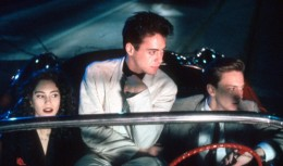 From left to right: Jami Gertz as Blair, Robert Downey, Jr. as Julian, and Andrew McCarthy as Clay in the film adaptation.