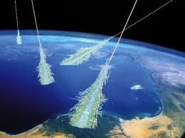 High velocity gamma rays smash into the upper atmosphere and a rain of muons is able to reach the surface. Being short lived, they should not be able to reach our detectors on the earth's surface, but since they move so fast, they go through an Einst
