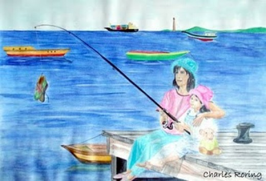 Watercolor painting of two little girls fishing by Charles Roring