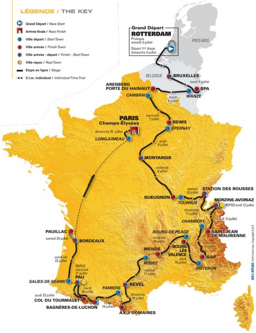The 2010 Tour De France route