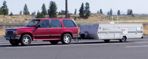 Tent Trailer folded up for the road
