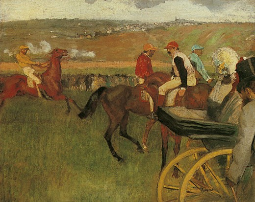 'Gentlemen Jockeys' was one of many canvases that Degas painted at the races