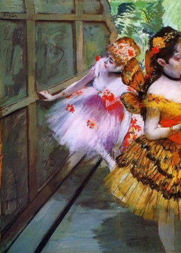 I love the vivid colours used in 'Ballet Dancers in Butterfly Costumes'. These colours are achieved through the use of gouache.