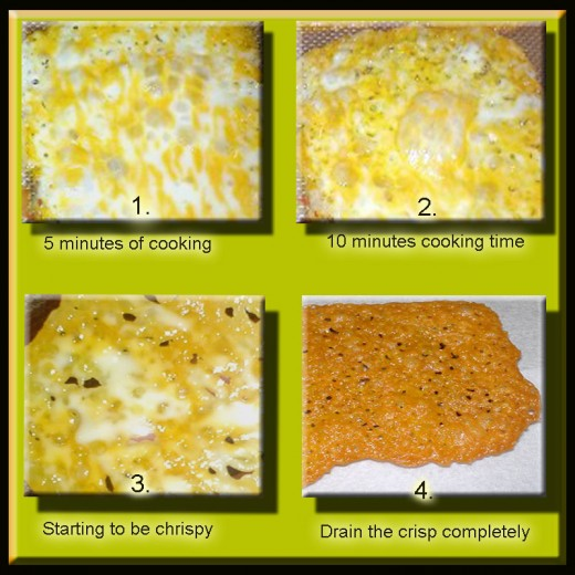 Cooking stages of cheese crisps