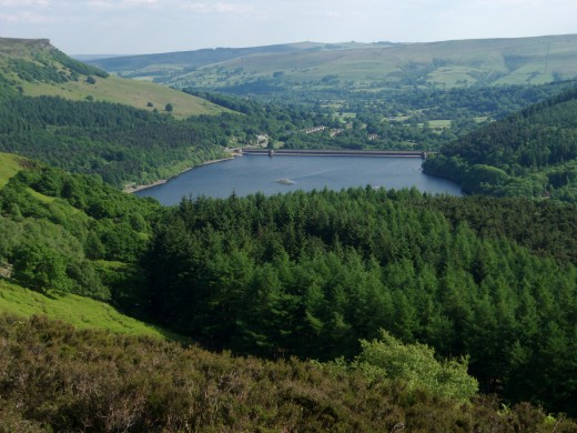 Ladybower Reservoir, from the hills above, looking south over the dam.