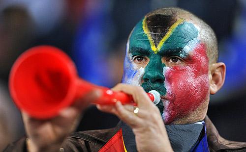 Fan blowing a vuvuzela