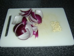 Chopped Red Onion and Garlic
