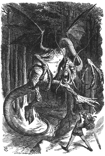 We cannot eat a wild beast until he removes his vest! [The Jabberwock illustration by Sir John Tenniel (1820-1914) for Lewis Carrol.